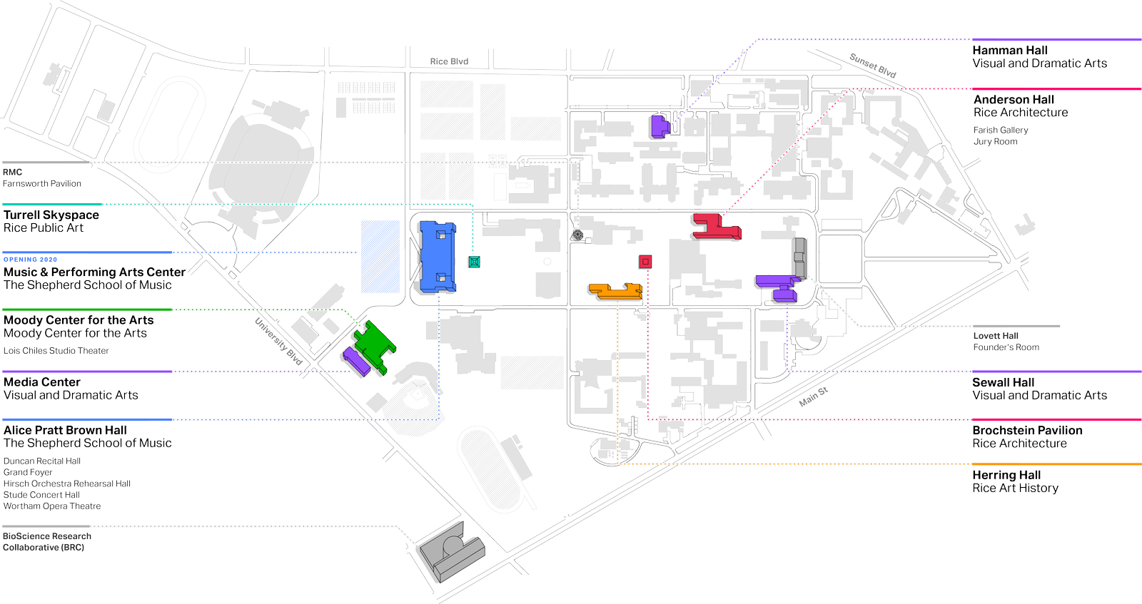 A map of venues on the Rice campus
