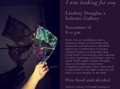 """I Was Looking for You"" opening at Inferno Gallery"