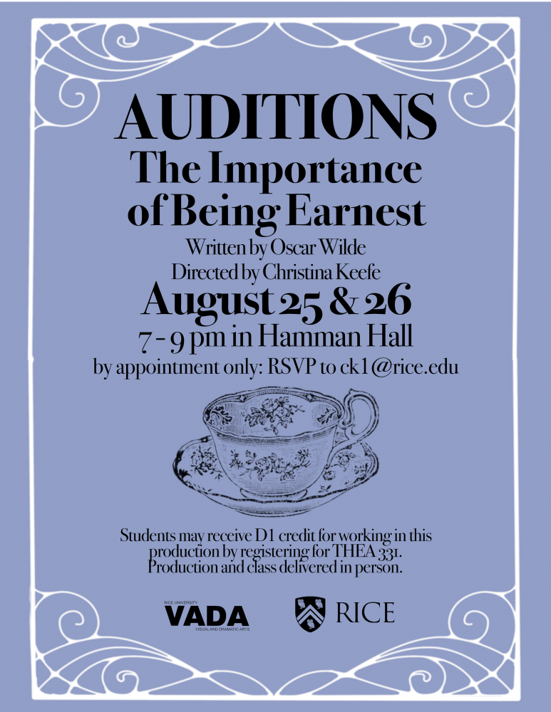 Auditions for 'The Importance of Being Earnest'